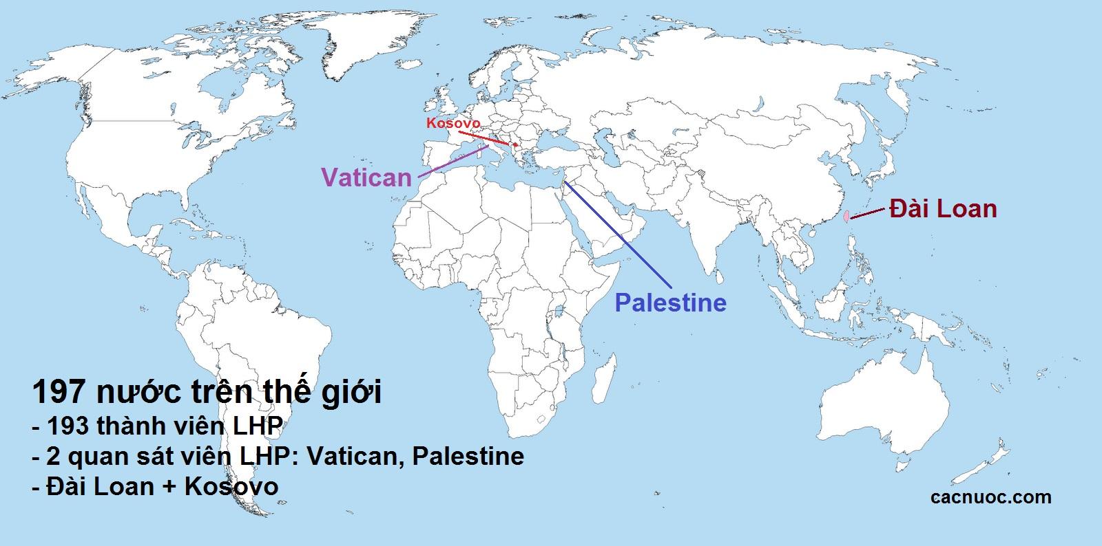 có 197 quốc gia trên thế giới