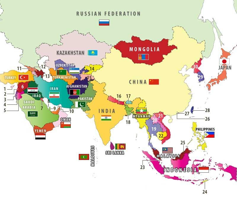 Các nước châu Á và quốc kỳ