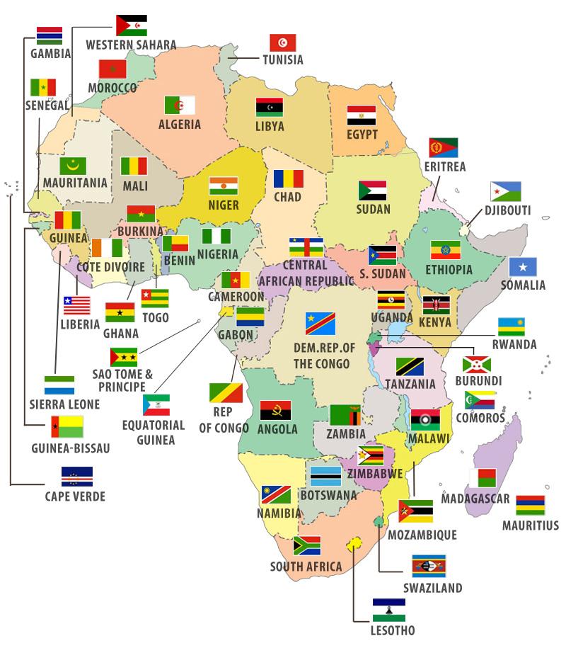 Các nước châu Phi và quốc kỳ