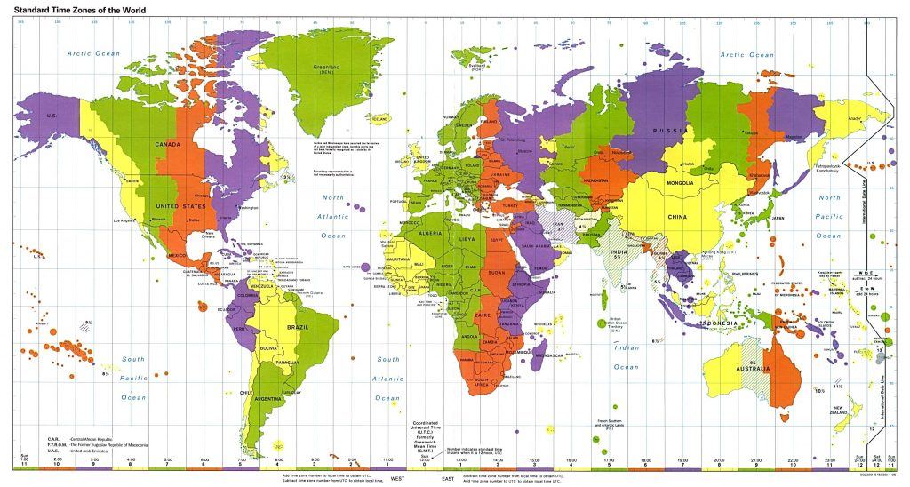 múi giờ các nước phổ biến trên thế giới