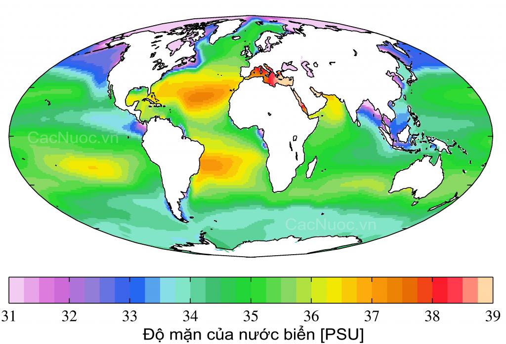bản đồ phân bố độ mặn