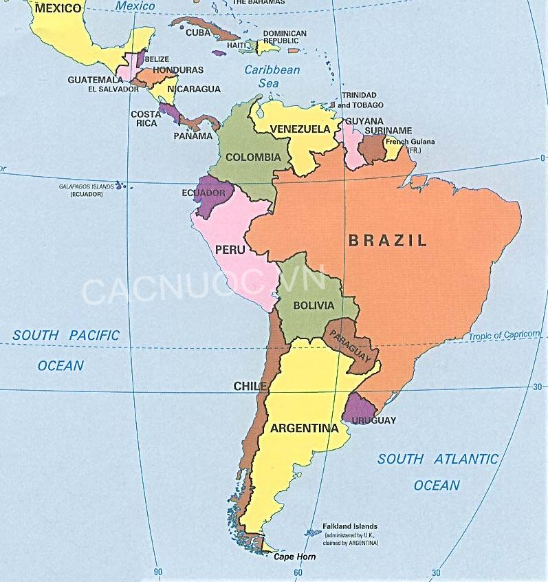 Danh sách các nước Nam Mỹ