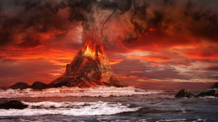 núi lửa phùn trào mang theo muối